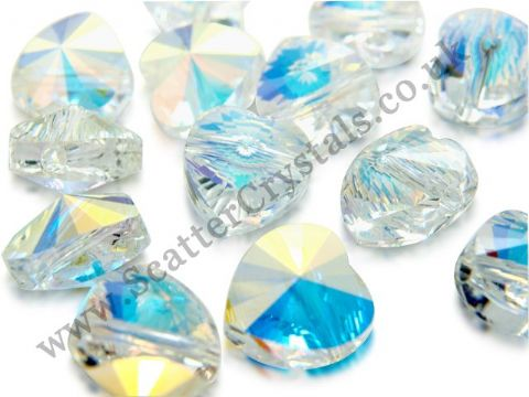 Swarovski Heart Bead, Style 5742, 14mm, Crystal AB, 1 piece - CLEARANCE PRICE